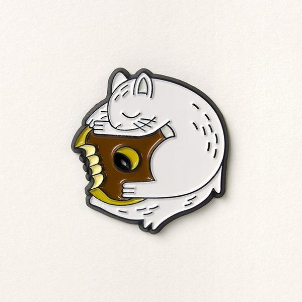 White Squirrel Donut Pin
