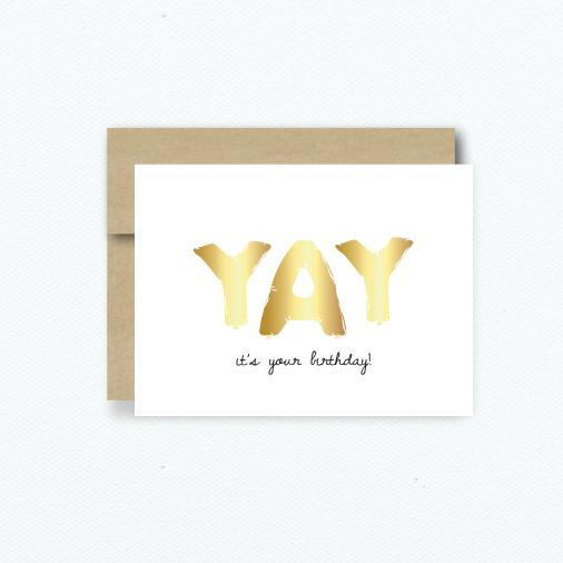 YAY It's Your Birthday Gold Foil Card